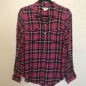 Lucky Brand Tabbed Sleeve Popover Flannel Shirt M